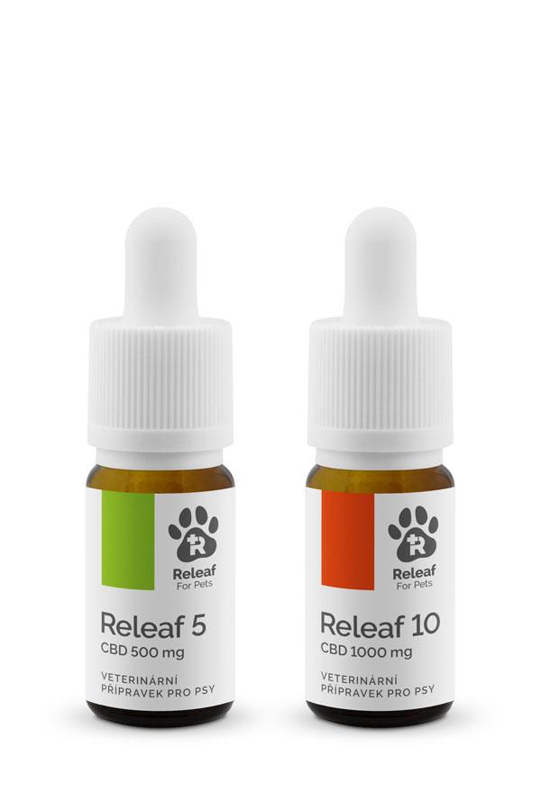 Releaf 5 a 10 CBD olej pro psy